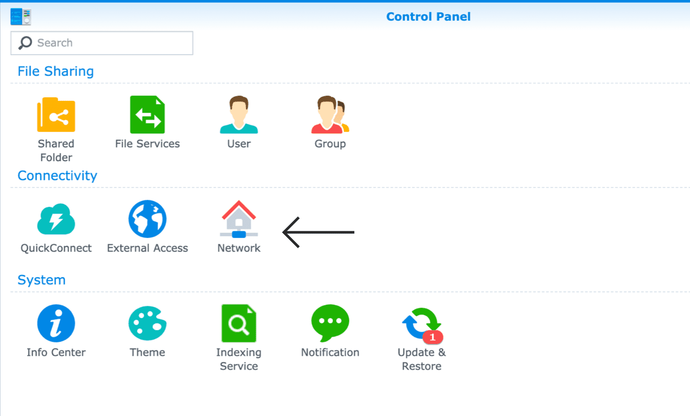 "Go to ""Control Panel"" and select ""Network."""