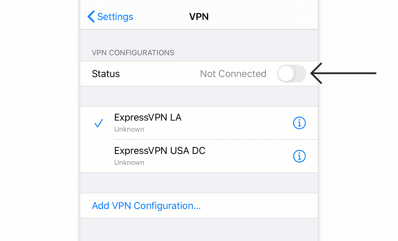 Tap the connection name to connect to a different server location.