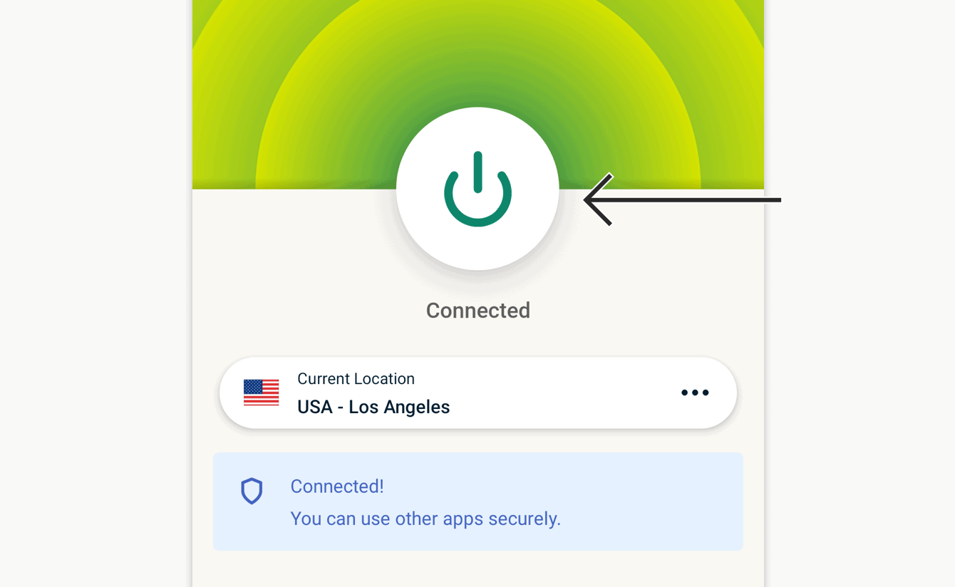 Tap the On Button to disconnect.