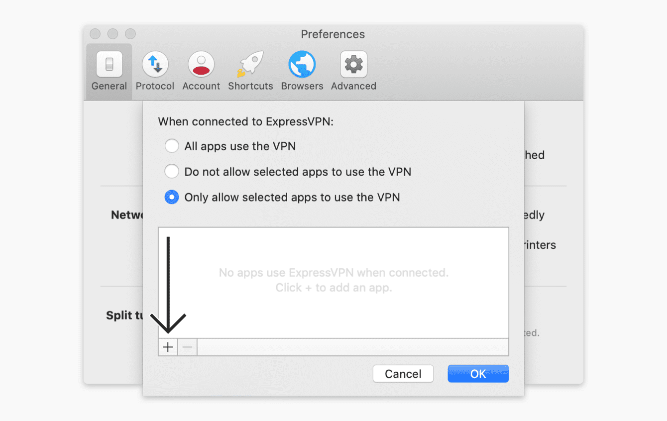 """Select """"Only allow selected apps to use the VPN"""", then click """"OK."""""""