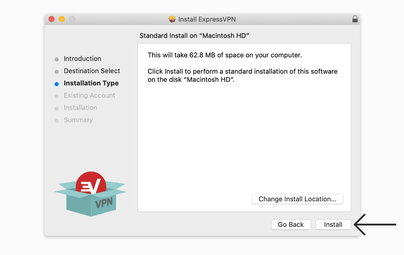 """Click """"Install"""" to install the ExpressVPN app."""