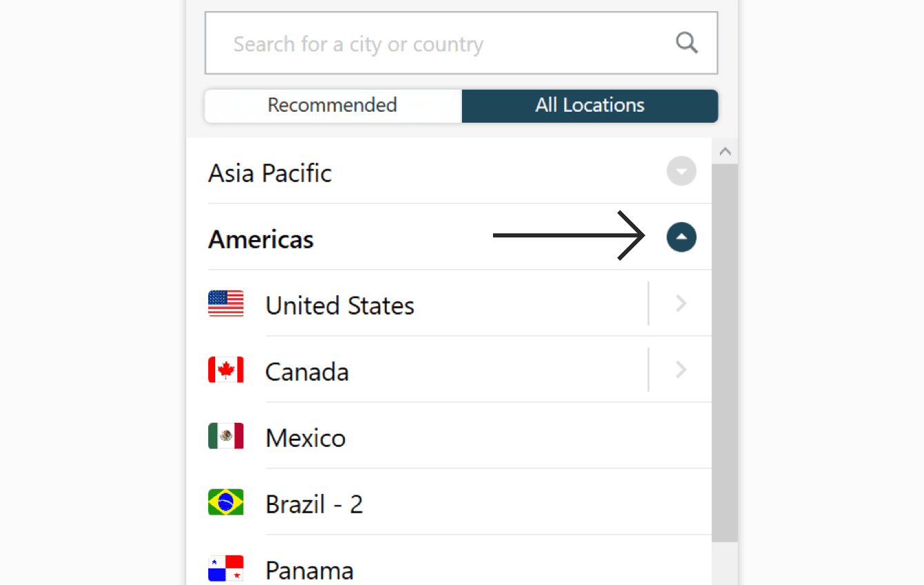 The All Locations tab on the ExpressVPN app.