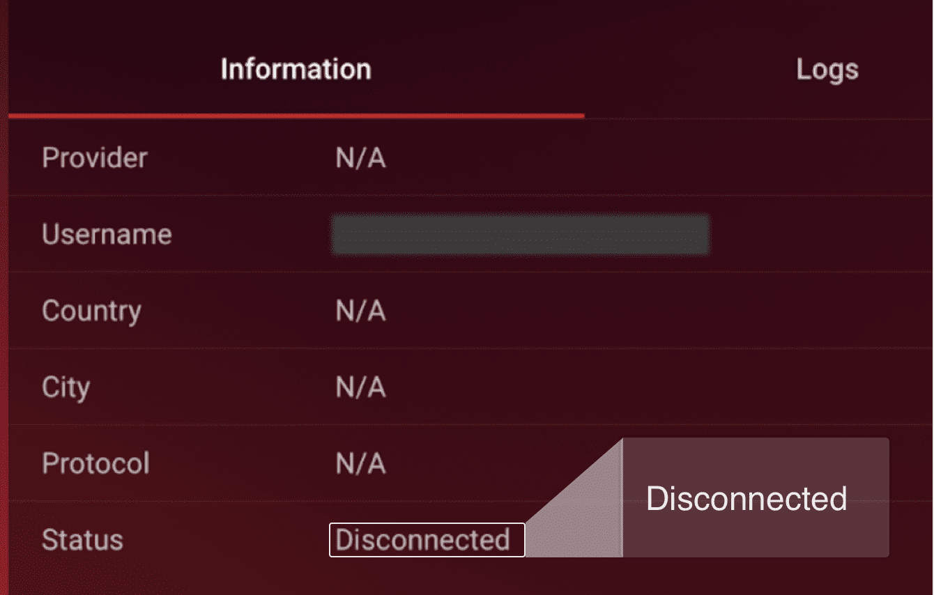 "You will see ""Disconnected"" next to ""Status."""