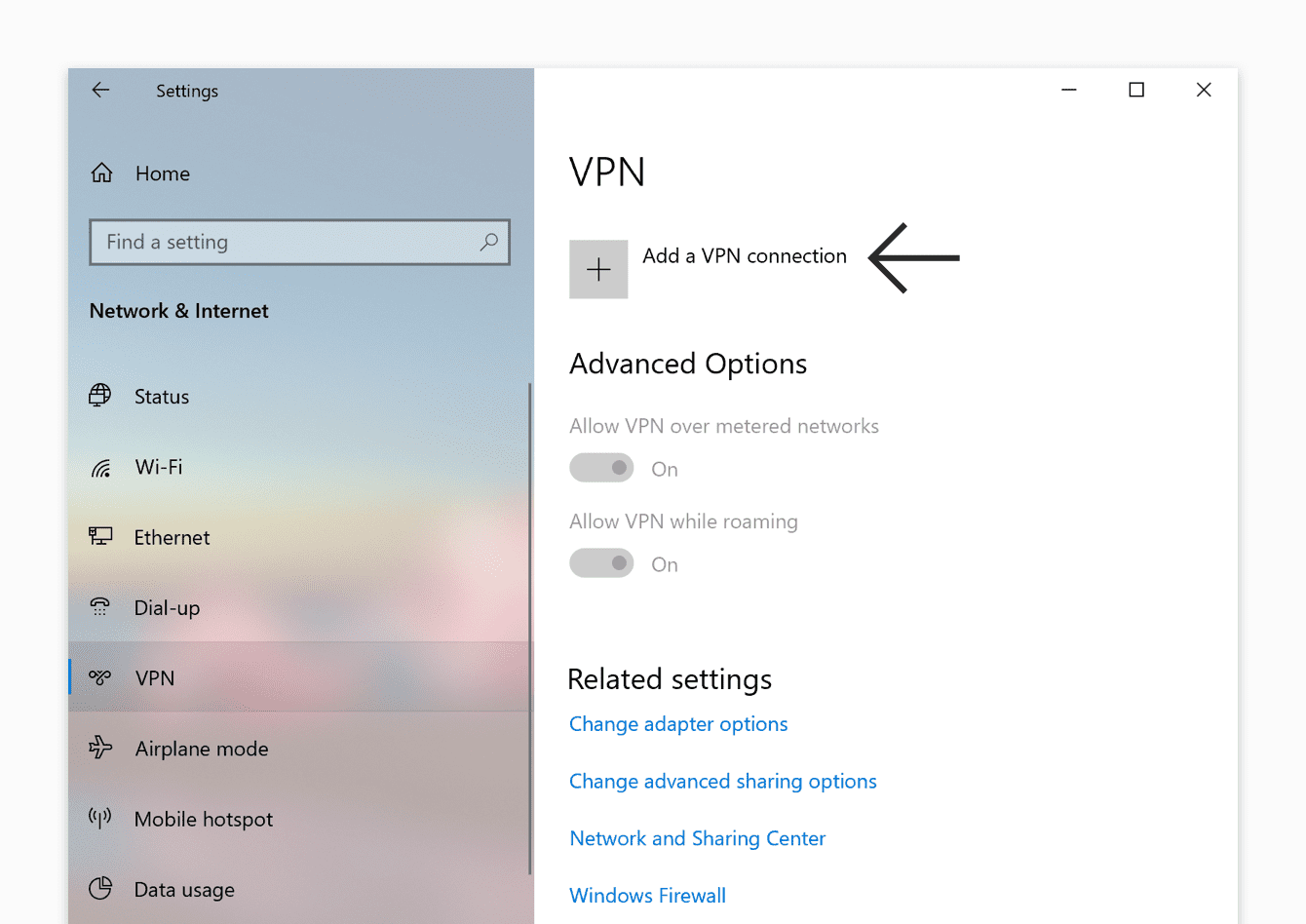 "Click ""Add a VPN connection."""
