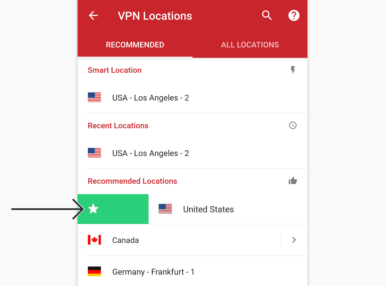 To add a location to your favorites, drag it to the right.