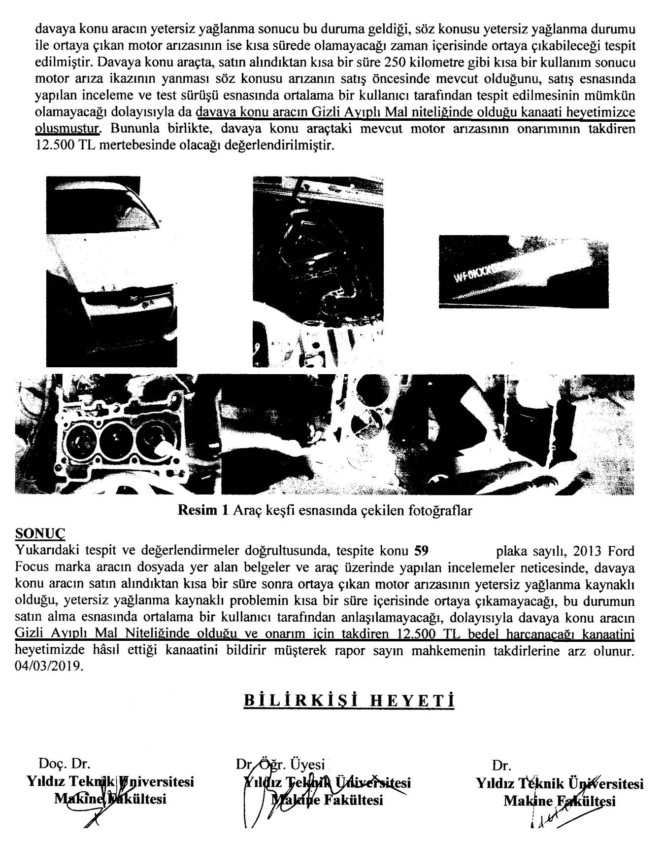 motor arızası bilirkişi raporu
