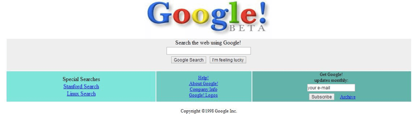 Google's interface in 1998
