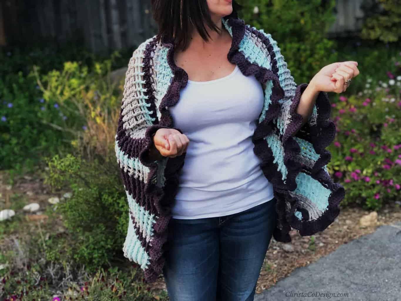 Strisce Easy Crochet Ruffle Edge Wrap Pattern