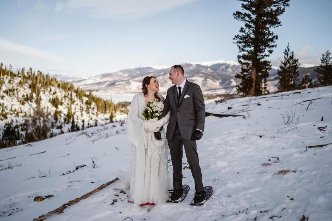 Bride and Groom Snowshoeing Winter Elopement Guide