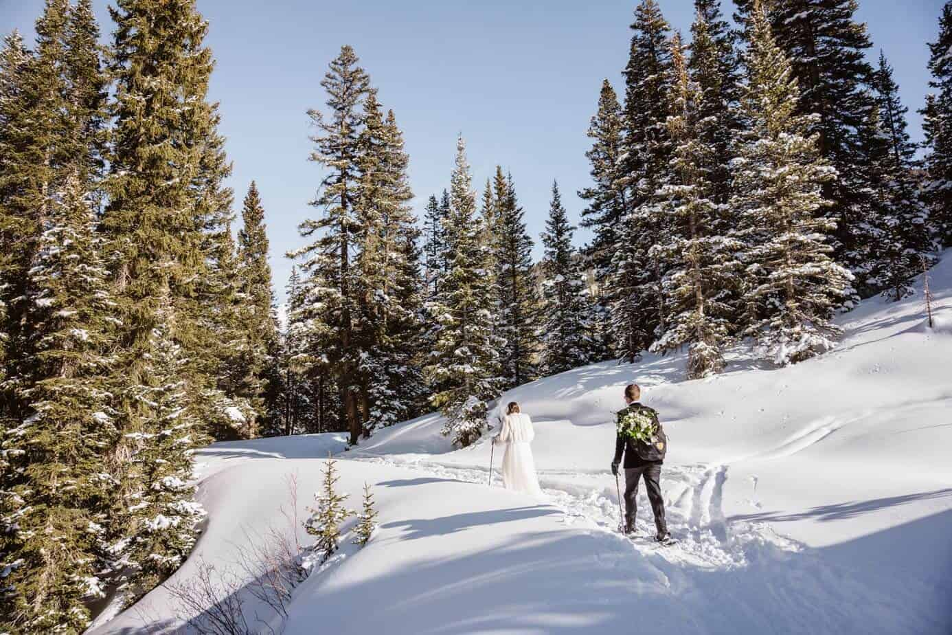 Bride and Groom Snow Shoeing Winter Elopement Guide