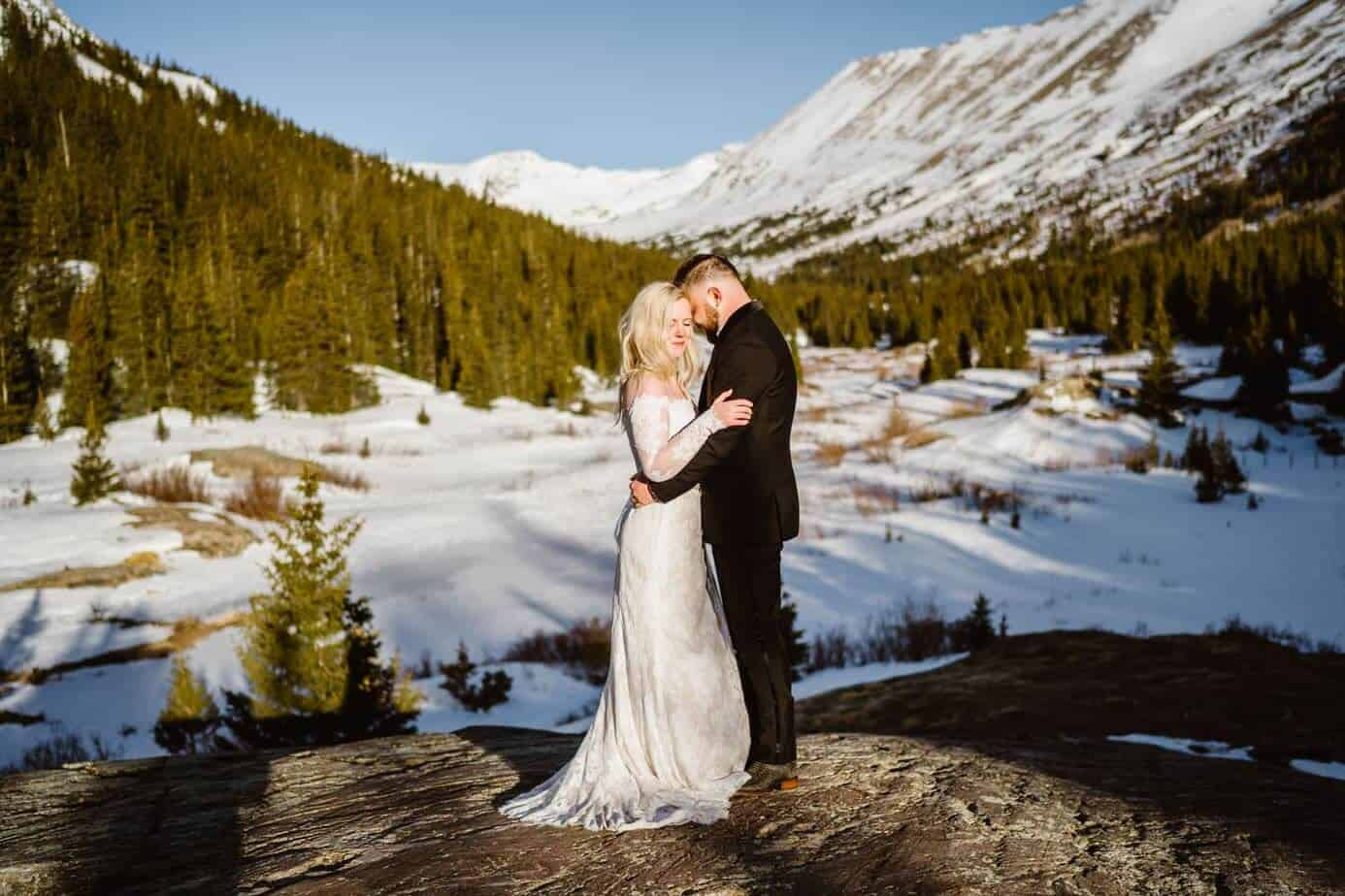 Bride and Groom at Sunrise Winter Elopement Guide