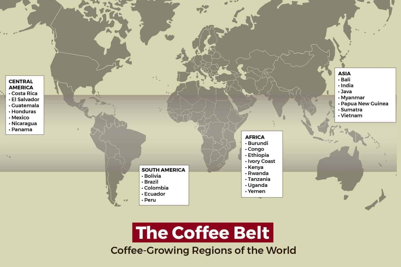 Map of the world showing regions near the equator where coffee is grown