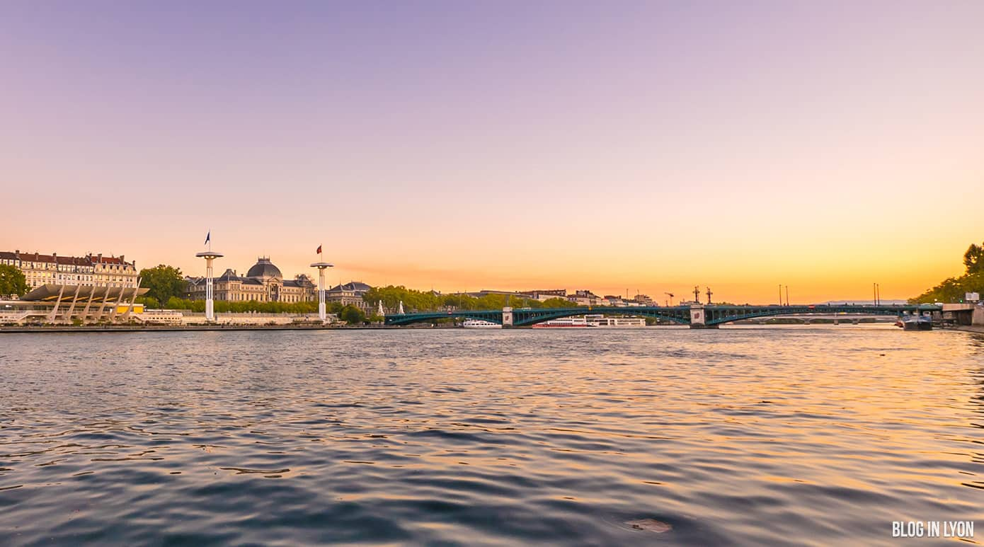 coucher de soleil sur le Rhône - Blog In Lyon
