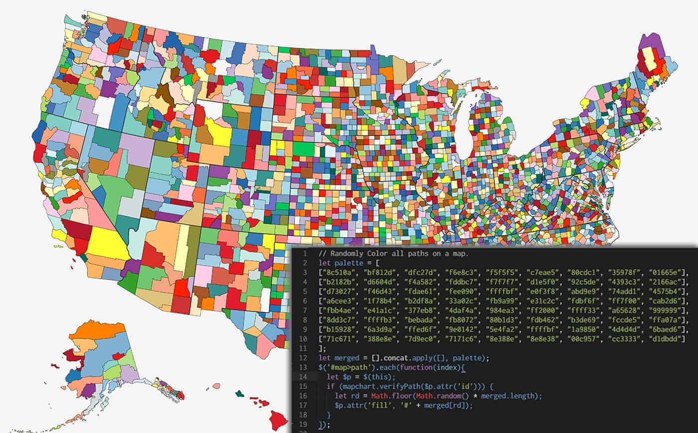 USA Counties map with random colors and javascript code