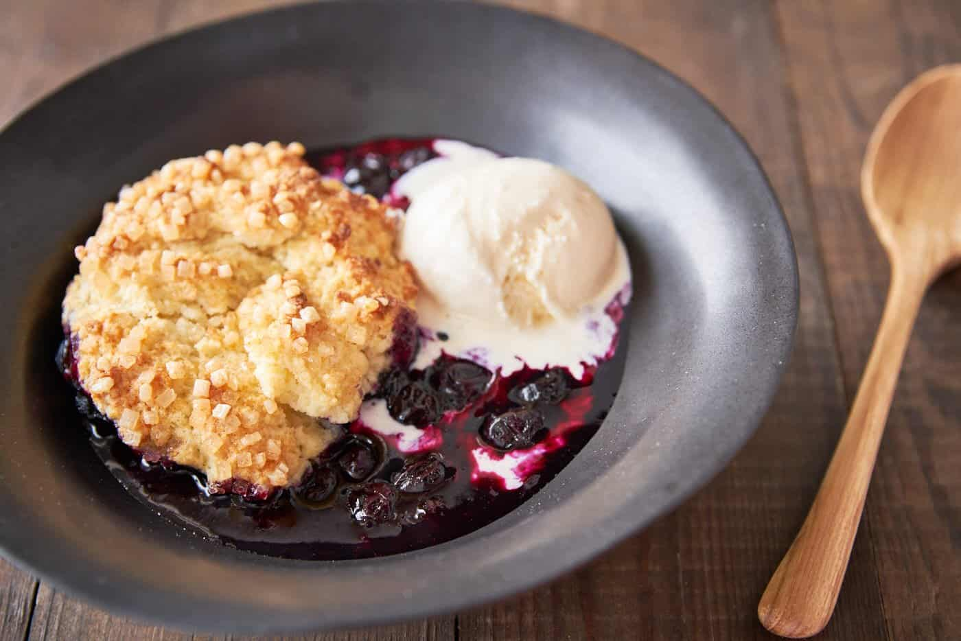 Loaded with sweet, plump blueberries and topped with buttery sugared biscuits, this easy Blueberry Cobber is the perfect summer dessert.