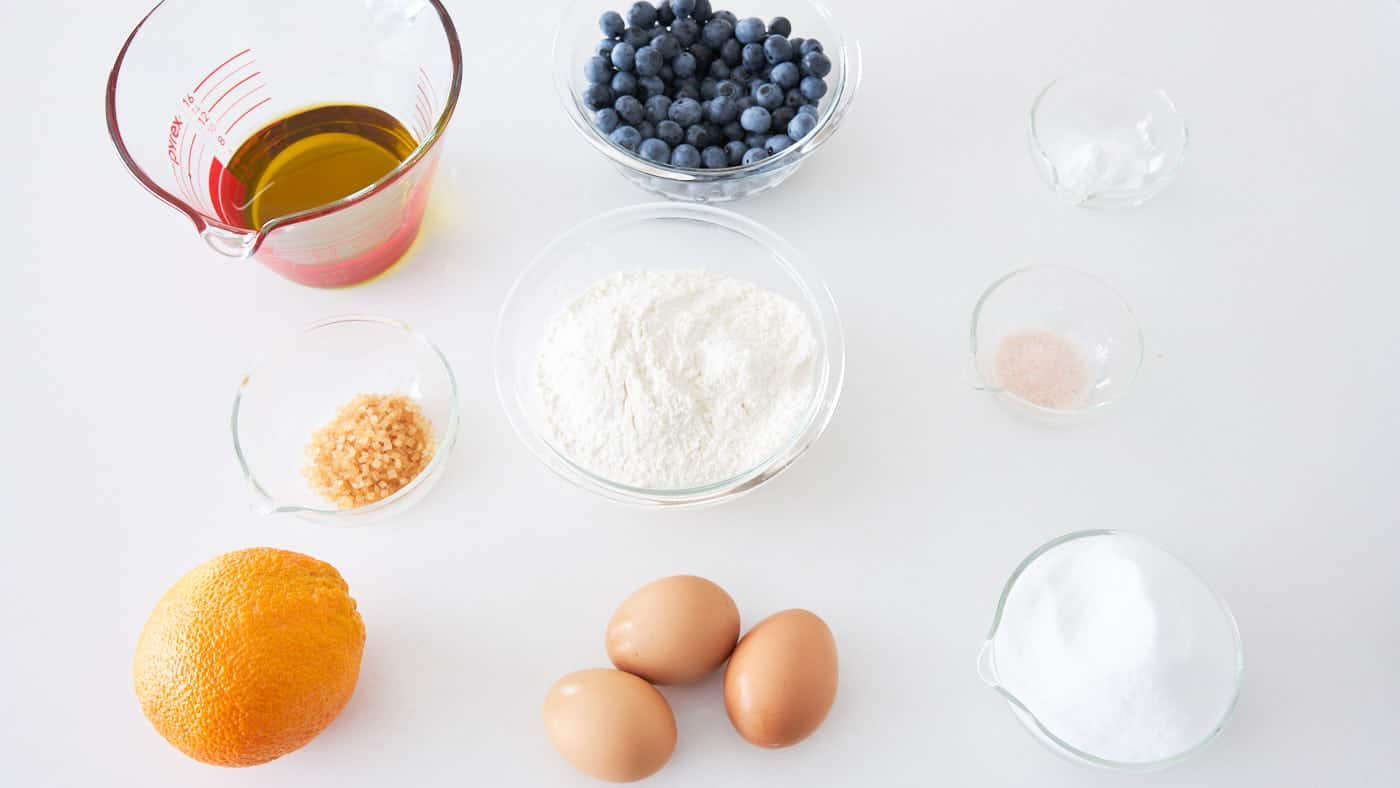 Ingredients for the best blueberry olive oil cake.