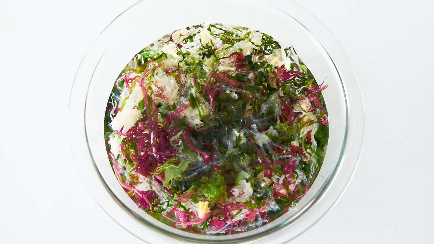 Mixed dried seaweed being rehydrated in a bowl of water for making salad.