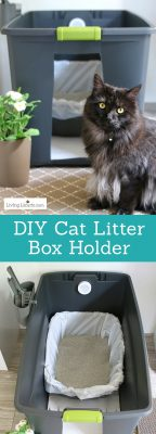 Easy hidden kitty litter box ideas! DIY cat litter box holder. Give your cat's space a fresh makeover with this home decor hack for pets. #cat #kittylitter #homedecor #hacks