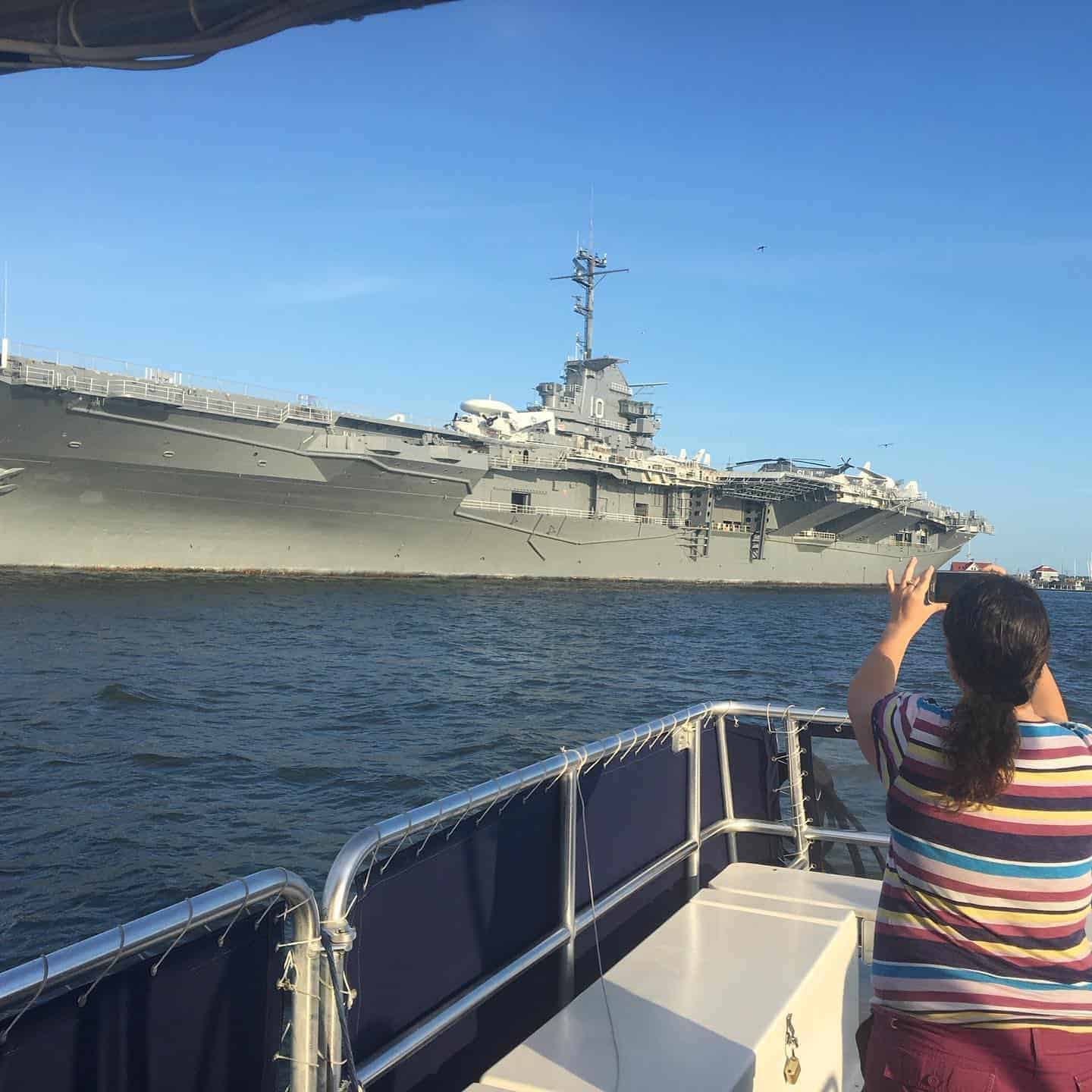 Close look at historic battle ship angled from the front. Best boat tours in Charleston, SC