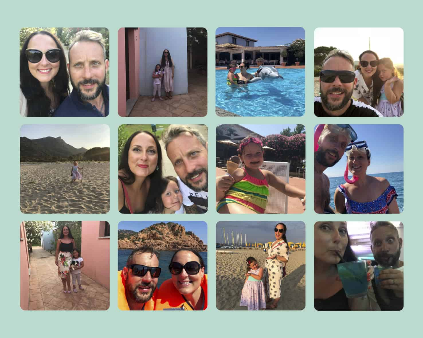 Collage of pictures from our holiday to Perdepera Beach Resort