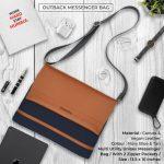 Outback Messenger Bag - Navy Blue & Tan Brown