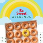 dozen original glazed doughnuts with one smiley face doughnut for Krispy Kreme's Be Sweet Weekends promo