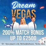 Dream Vegas Casino €7500 bonus + 120 gratis spins for new players