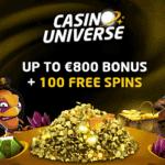 Casino Universe 100 gratis spins and 800€ free cash bonus