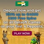 Dingo Casino €/$4,000 bonus and 200 free spins on registration!