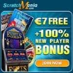 Scratch Mania Casino €7 no deposit bonus or 70 gratis spins