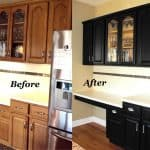 updating the look of honey oak cabinets with black color