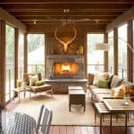 a small rustic screened porch with full decorations that makes it looks like a real living room
