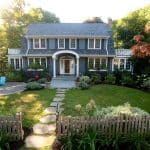 front walkway landscaping idea with large-cut pennsylvania field stone