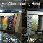 Hot Glue-Labeling Head - Before and After CO2 cleaning