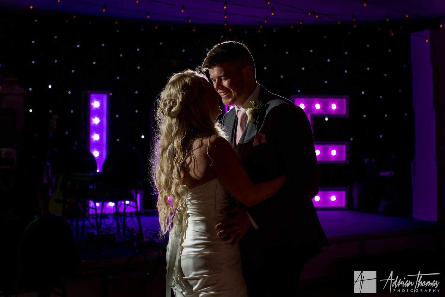Bride and grooms first dance at Maes Manor Hotel wedding reception Blackwood.