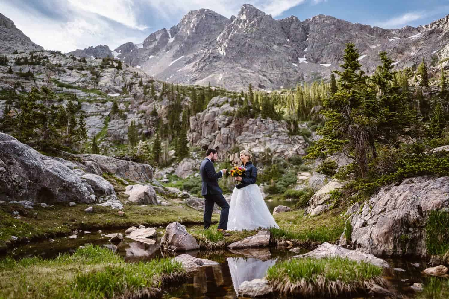 Bride and Groom Vow Ceremony at Blue Lake Colorado Mountain Elopement Packages
