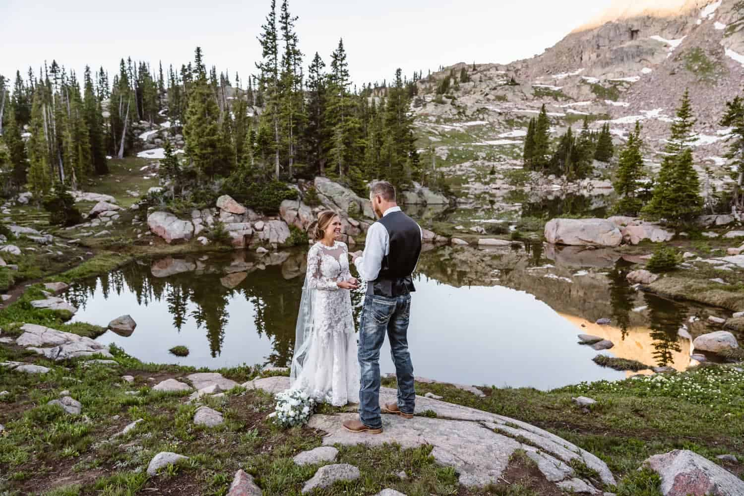 Bride and Groom Vow Ceremony Colorado Mountain Elopement Packages