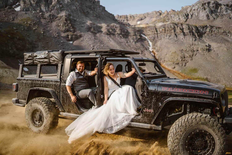 Bride and Groom in Jeep Colorado Off-Roading Elopement