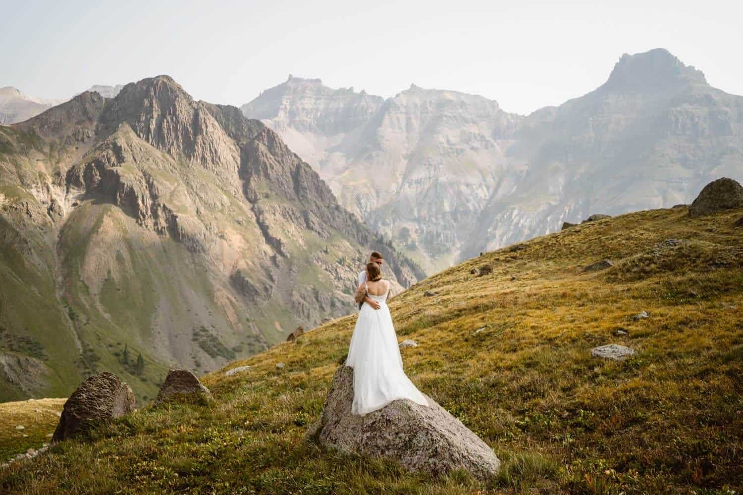 Bride and Groom Kissing Colorado Off-Roading Elopement