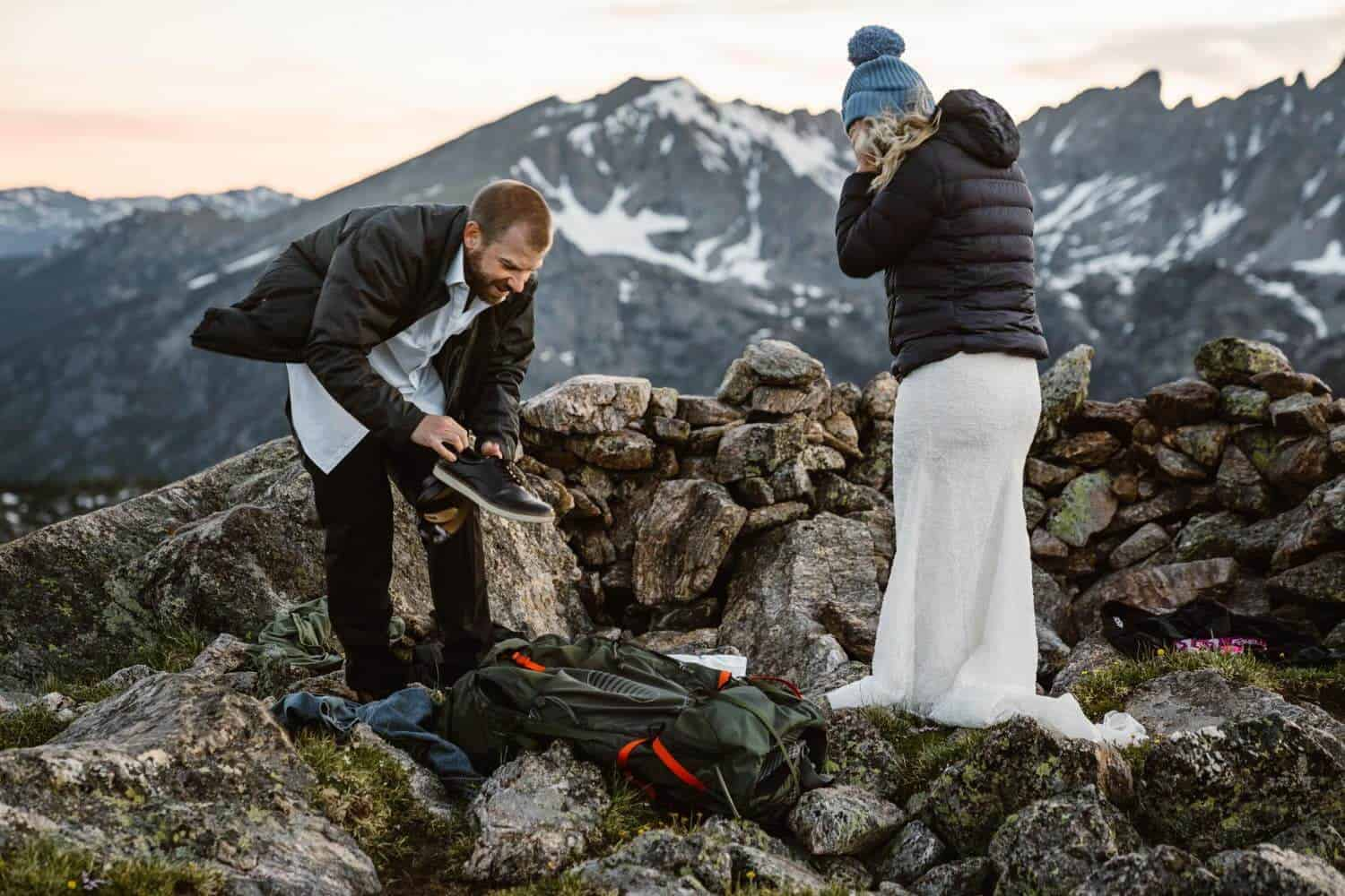 Bride and Groom Getting Dressed Colorado Mountain Elopement Packages