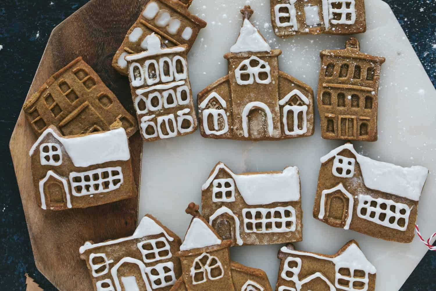 Houses and churches made from gingerbread biscuit dough.