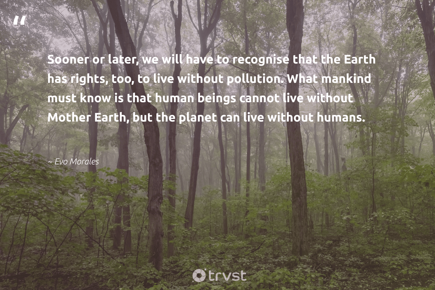 """""""Sooner or later, we will have to recognise that the Earth has rights, too, to live without pollution. What mankind must know is that human beings cannot live without Mother Earth, but the planet can live without humans.""""  - Evo Morales #trvst #quotes #environment #earth #planet #pollution #mothernature #giveback #sustainableliving #thinkgreen #nature #conservation"""