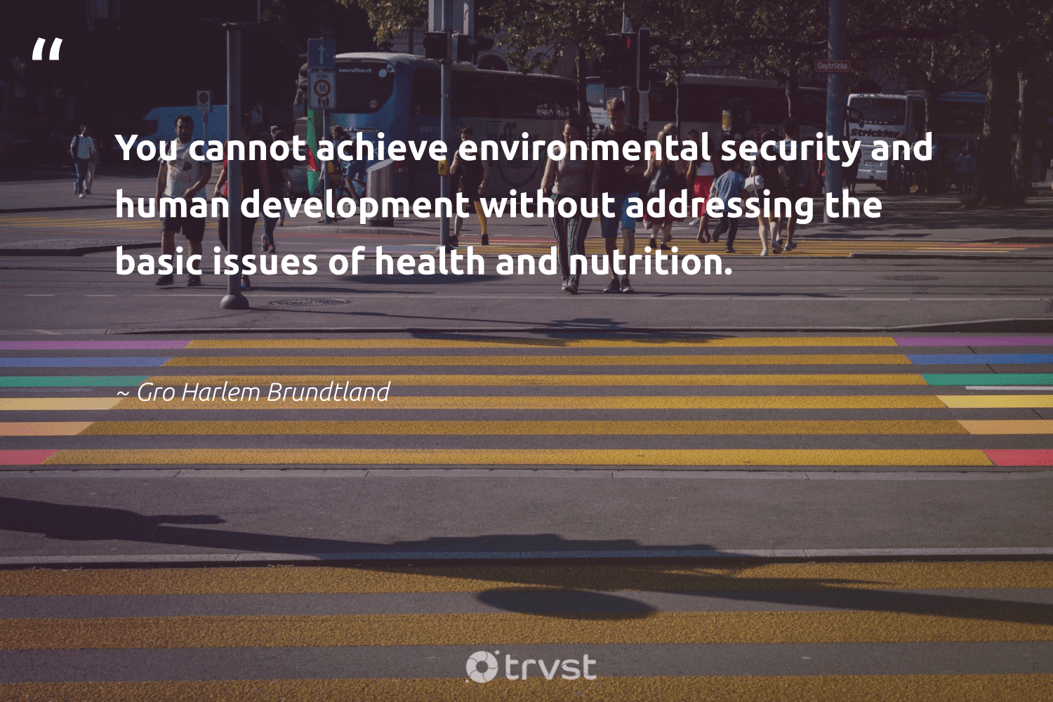 """""""You cannot achieve environmental security and human development without addressing the basic issues of health and nutrition.""""  - Gro Harlem Brundtland #trvst #quotes #environmental #health #nutrition #development #healthylife #socialgood #mindset #planetearthfirst #wellbeing #makeadifference"""