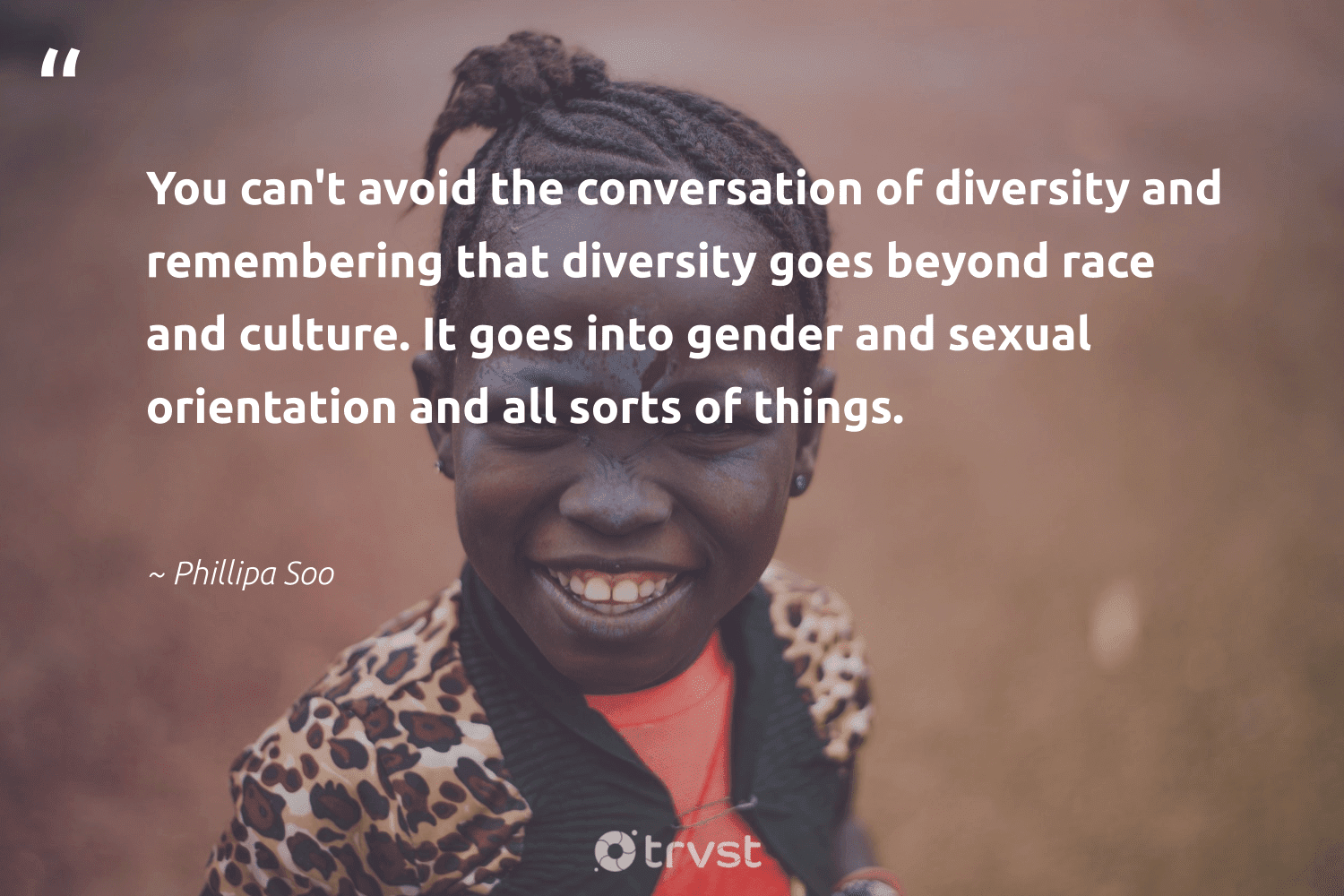 """""""You can't avoid the conversation of diversity and remembering that diversity goes beyond race and culture. It goes into gender and sexual orientation and all sorts of things.""""  - Phillipa Soo #trvst #quotes #diversity #gender #inclusion #discrimination #makeadifference #bethechange #gogreen #representationmatters #socialchange #giveback"""