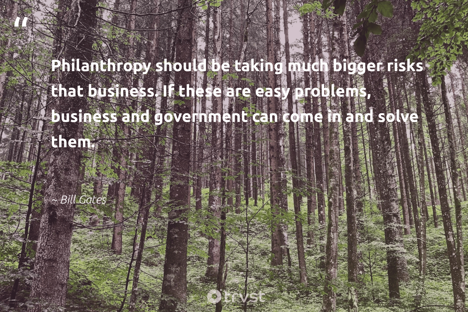 """""""Philanthropy should be taking much bigger risks that business. If these are easy problems, business and government can come in and solve them.""""  - Bill Gates #trvst #quotes #philanthropy #philanthropic #giveforthefuture #changemakers #takeaction #itscooltobekind #togetherwecan #planetearthfirst #socialimpact #socialchange"""