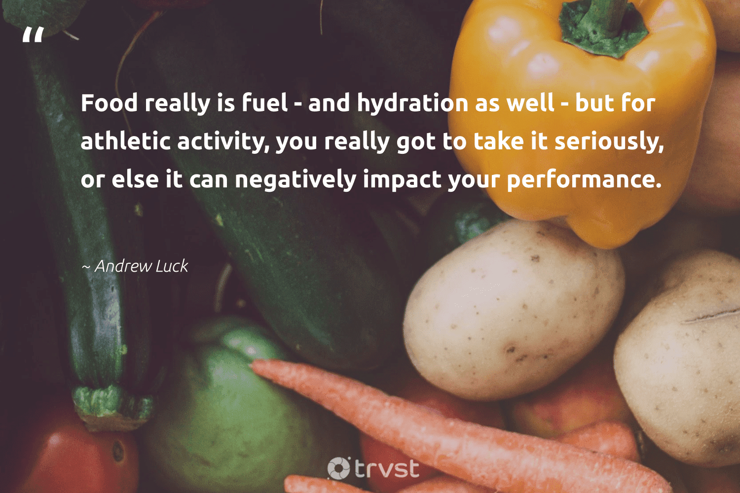 """""""Food really is fuel - and hydration as well - but for athletic activity, you really got to take it seriously, or else it can negatively impact your performance.""""  - Andrew Luck #trvst #quotes #impact #food #foodforthepoor #mindset #weareallone #ecoconscious #hunger #begreat #sustainablefutures #dotherightthing"""
