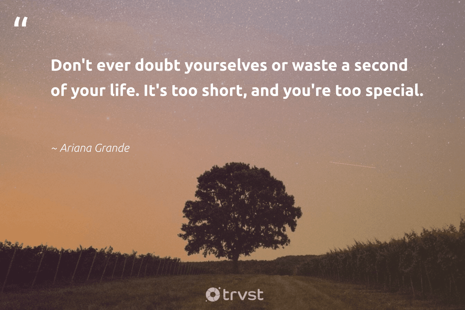 """""""Don't ever doubt yourselves or waste a second of your life. It's too short, and you're too special.""""  - Ariana Grande #trvst #quotes #waste #nevergiveup #dosomething #changemakers #dogood #mindset #gogreen #begreat #bethechange #health"""