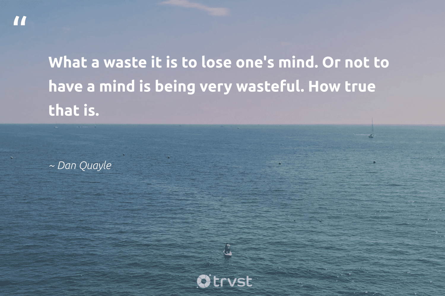 """""""What a waste it is to lose one's mind. Or not to have a mind is being very wasteful. How true that is.""""  - Dan Quayle #trvst #quotes #waste #health #gogreen #nevergiveup #planetearthfirst #begreat #socialimpact #changemakers #impact #togetherwecan"""