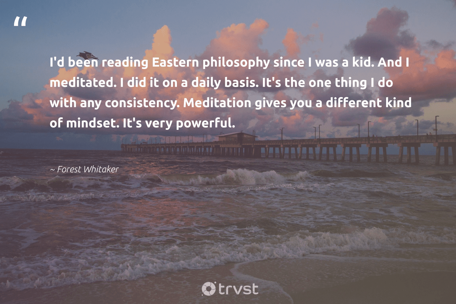 """""""I'd been reading Eastern philosophy since I was a kid. And I meditated. I did it on a daily basis. It's the one thing I do with any consistency. Meditation gives you a different kind of mindset. It's very powerful.""""  - Forest Whitaker #trvst #quotes #mindset #meditation #creativemindset #mindfulness #togetherwecan #nevergiveup #dogood #motivation #meditate #begreat"""