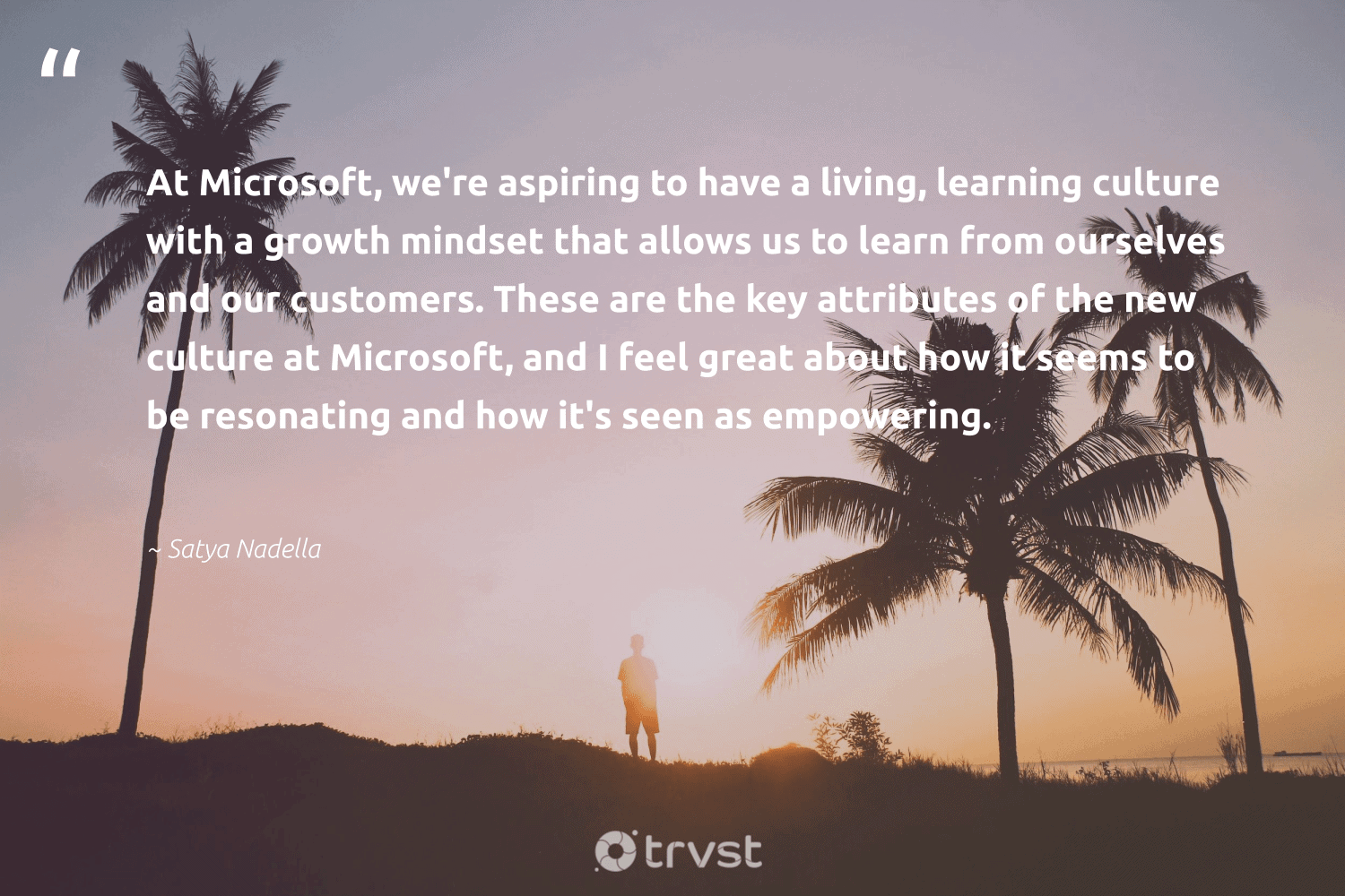 """""""At Microsoft, we're aspiring to have a living, learning culture with a growth mindset that allows us to learn from ourselves and our customers. These are the key attributes of the new culture at Microsoft, and I feel great about how it seems to be resonating and how it's seen as empowering.""""  - Satya Nadella #trvst #quotes #mindset #growthmindset #customers #mindfulness #goals #togetherwecan #health #dosomething #creativemindset #motivation"""